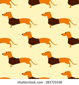 Seamless pattern with repeating foxy colored dachshund in glasses with dark lenses and red frame and brown waistcoat decorated with red pattern isolated on flaxen background