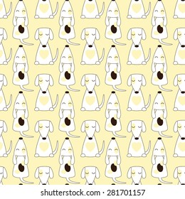 Seamless pattern with repeating jack russel terrier with closed eyes in cartoon style isolated on yellow background