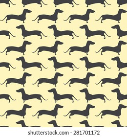 Seamless pattern with repeating lines of grey colored silhouette of standing dachshund situated opposite one another isolated on light yellow background