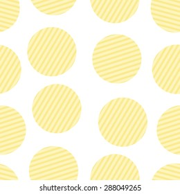 Seamless pattern with repeating round corrugated potato chips isolated on white background