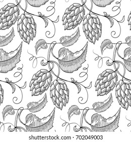 seamless pattern with repeating Sprig of hop. Sketch. Hand drawing. Design concept. Vector Illustration, eps10, contains transparencies.