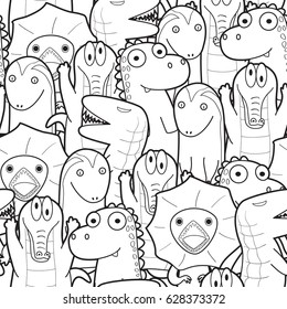 Seamless pattern of reptile animals in black and white  style use as background, wallpaper, card and wrap paper