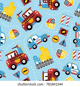 seamless pattern of rescue team cartoon. Firefighter, police car, in the city.