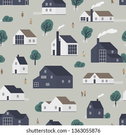 Seamless pattern with residential houses or village cottages in Scandic style and walking people. Backdrop with suburban dwellings. Flat colorful vector illustration for wrapping paper, textile print.