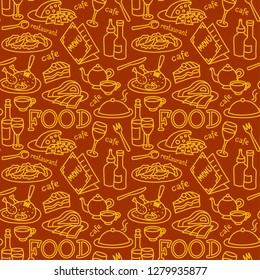 seamless pattern for restaurant and cafe food and dishes