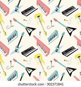 Seamless pattern with retro 80s musical instruments 4