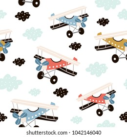 Seamless pattern with retro air planes in the sky. Creative childish texture. Great for fabric, textile Vector Illustration