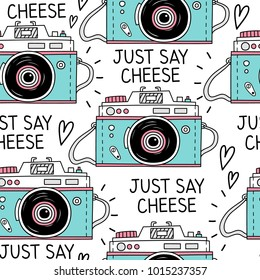 Seamless pattern with retro cameras