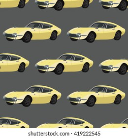 Seamless pattern with retro car.