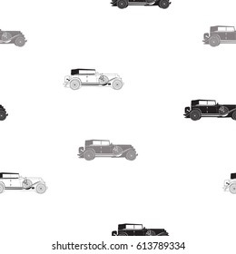 seamless pattern with retro car, black and white retro pattern, black and white vector seamless pattern with cadillac for design