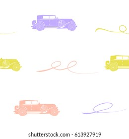seamless pattern with retro car, pattern with  pink, green and purple retro cars, vector seamless pattern with cadillac for design
