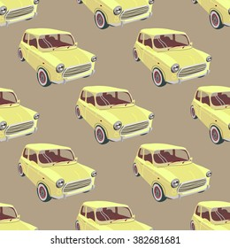 Seamless pattern with retro  car, vector