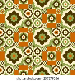 Seamless pattern retro ceramic tile design with floral ornate.Endless texture.vector daisy background.