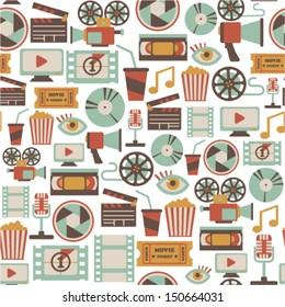 seamless pattern with retro cinema icons