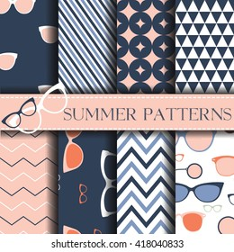 Seamless pattern with retro Glasses Vector Background Set of seamless backgrounds. Vector image with sunglasses