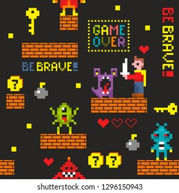 Seamless pattern with retro pixel game characters. Vector illustration from childhood.