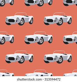 Seamless pattern with retro   race car, vector