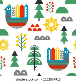 Seamless pattern in retro scandinavian style. Vector illustration woth cartoon flat birds and nordic flora,