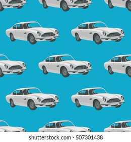 Seamless pattern with retro sport car . Vector illustration. Cartoon car.