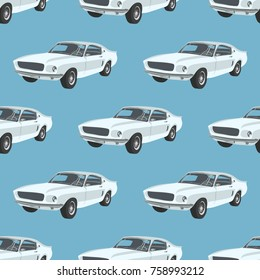 Seamless pattern with retro sport car . Vector illustration. Cartoon
