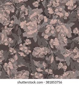 Seamless pattern in retro style with flowers and leaves in warm brown tones. Vector illustration.
