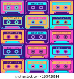 Seamless pattern with a retro tape cassette. Vintage music, 1980s pop songs, stereo cassettes. 90 s disco dance audio cassette,  player record tape.