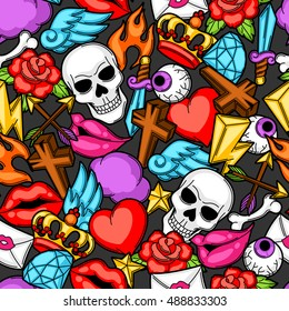 Seamless pattern with retro tattoo symbols. Cartoon old school illustration.