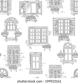 Seamless pattern of retro windows  on white background. Hand drawing illustration
