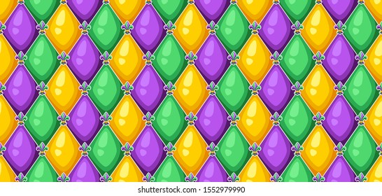 Seamless pattern with rhombus in Mardi Gras colors. Carnival background for traditional holiday or festival.