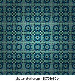 Seamless pattern with rhombus and polygons forming abstract wallpaper. Stylish blue, green and black texture. Vector abstract geometric background.
