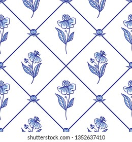 Seamless pattern of rhombuses and flowers, traditional blue painting in the Dutch style, delft, gzhel, print for fabric, background for various designs