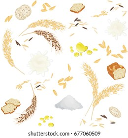 Seamless pattern with rice foodstuff / There are rice ears, flour, grains, milk, oil, bread and waffles