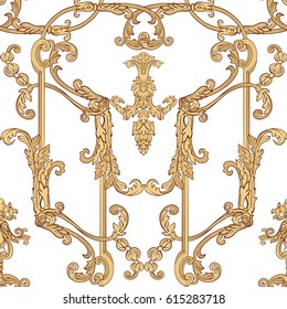 Seamless pattern with richly decorated rococo style floral decor elements. In gold colors. Stock vector illustration.