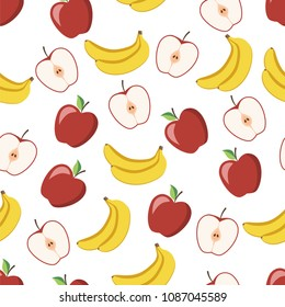 Seamless pattern of ripe apple with slices and a delicious banana. This fruit design for your business projects. Ideal for fabrics and decor. Beautiful vector background.