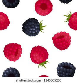 Seamless pattern of ripe berry blackberries and raspberries on white background. Design for textiles, banners, posters. Vector illustration.