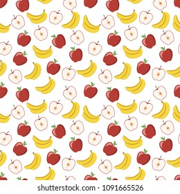 Seamless pattern of ripe and juicy apple and banana. This fruit design for your business projects. Ideal for fabrics and decor. Beautiful vector background.