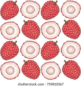 Seamless Pattern with Ripe Red Lychee on a White Background