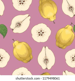 Seamless Pattern. Ripe Yellow Quince Whole and Cross Section on Purple Background
