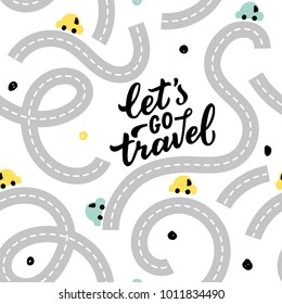 Seamless pattern road with baby cars for print, textile, wallpaper. Kids background with roads cars.