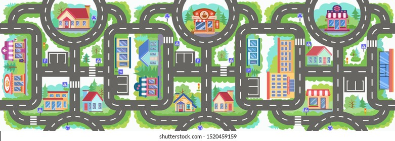 Seamless pattern road. Children board game city road. Wallpaper or carpet for children room. Kids background with map of city. Background for game with cars. Maze with road signs. Vector illustration.
