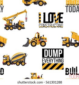 Seamless pattern with road roller, bulldozer, cement mixer, dumper truck, crane, build your future today label, i love constructing inscription, dump everything text. Inspired by building machinery.