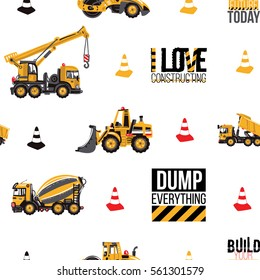 Seamless pattern with road roller, bulldozer, concrete hauler, dumper truck, crane, build your future today text, i love constructing label, dump everything sign. Inspired by building machinery.