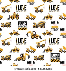 Seamless pattern with road roller, bulldozer tractor, hauler, dumper, truck crane, build your future today, i love constructing quote. Machinery vector background for kids room, invitations, web site