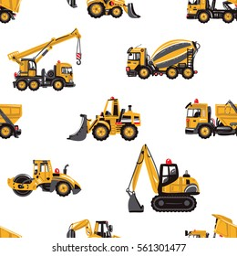 Seamless pattern with road roller, tractor backhoe loader, bulldozer, garbage truck, concrete hauler, dumper truck, crawler excavator, truck crane. Inspired by building machinery.
