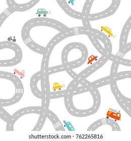 Seamless pattern with roads and cars