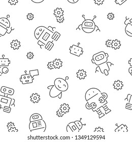 Seamless pattern with robots. Black and white thin line icons