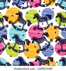 Seamless pattern with rocking horses. Cute baby shower background.Cloth, wallpaper, wrapping, fabric, print , surface, baby shower design.