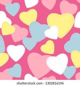 seamless pattern romantic heart shape design for valentine's day, vector illustration background