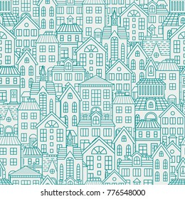 Seamless pattern with roofs and houses. Vector illustration.