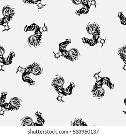 Seamless pattern with a rooster on a white background. Year of the rooster. Vector